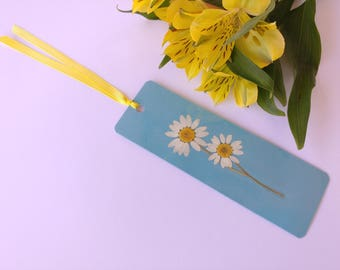 Real Pressed Flower Bookmark / Blue & Yellow