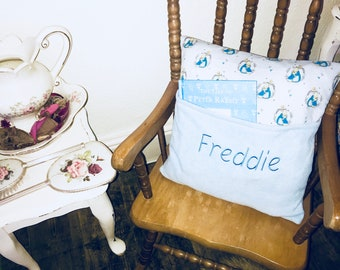 FREE POSTAGE Hand made personalised Peter rabbit girls boys pink blue pocket pillow pocket cushion