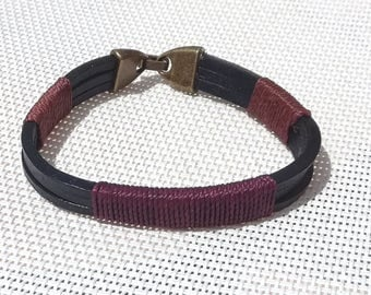 Mens black and Brown cords and leather bracelet, size S