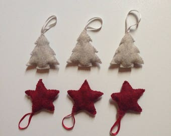 6 felt Christmas: 3 grey trees and 3 red stars