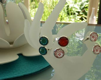 Adjustable silver ring, red or turquoise cabochons