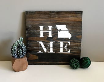 Reclaimed Wood Sign- HOME Block Letters- Missouri- Rustic
