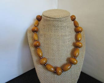 Light Brown Wooden Beaded Necklace