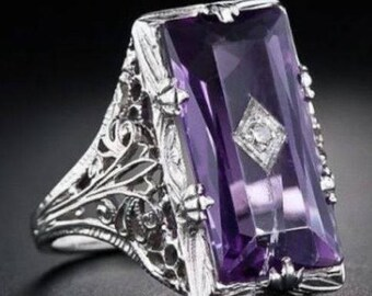 Vintage Antique 928 Silver Amethyst Marquise Filigree Ring - Appraised at over 100 dollars