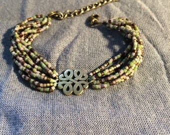 Bracelet beads * green * brown * charms