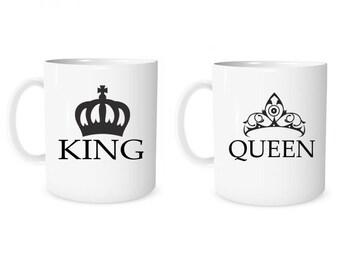 Custom Mug Personalized Mug King Queen Mug Coffee Mug King Queen Anniversary Mug Wedding Mug Valentine Mug  Couple Gift