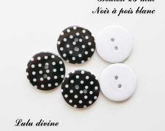 Set of 5 buttons round 23 mm 2-hole: black with white dots