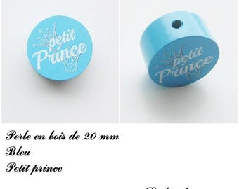 Wooden bead with 20 mm flat bead, little prince, Crown: Blue