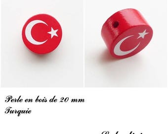 Wooden bead of 20 mm, flat bead: Turkey