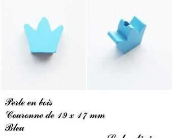 19 x 17 mm wooden bead, Pearl flat Crown: Blue