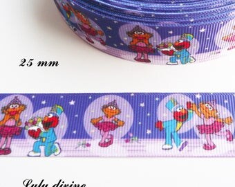Ribbon grosgrain blue & purple Muppet Show Elmo 25 mm sold by 50 cm