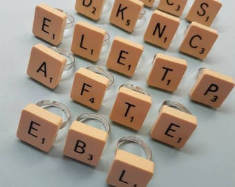 Scrabble Piece Rings