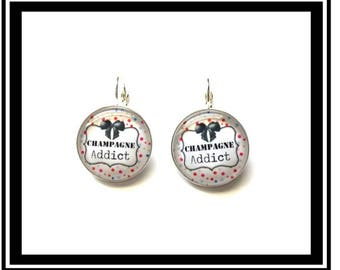 "Earrings ""Champagne Addict"" funny, tropical, tropical, cocktail, magic, magic, France, french, wine"