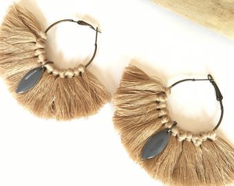 Elegant hoops & camel tassels! Large earrings, tassel pom pom pom pom earrings blue fancy Bohemian style