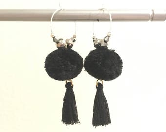 Elegant hoops & Black tassel! Large earrings, tassel pom pom pom pom black earrings