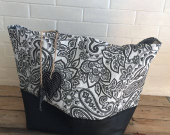 Tote bag reversible black and white Paisley fabric