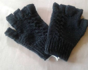 mittens for adults one size black 20% wool