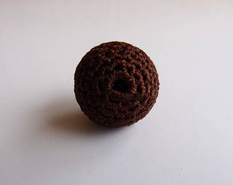 1 x Brown colors crochet covered round bead