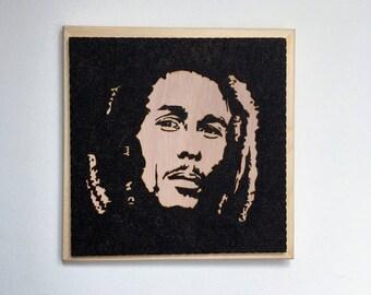 Original Bob Marley, portrait pyrography on wood by hand