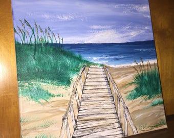 Acrylic Beach Painting - Original on Canvas - Home Decor
