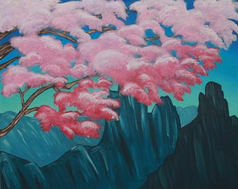 Original Art: Cherry Blossom Mountain Valley Acrylic Painting
