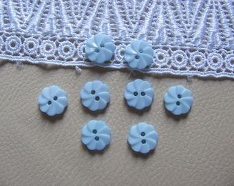 8 buttons plastic flowers Blue 12mm