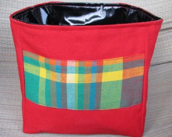 Box empty Pocket square canvas and madras