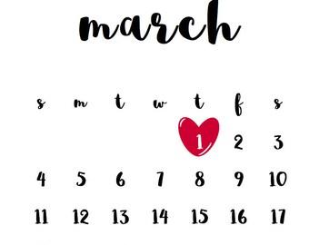 Pregnancy Announcement Calendar PRINTABLE with Heart - CUSTOM