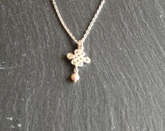 Necklace lucky Silver 925 small cultured pearl
