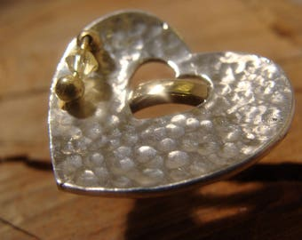Brass, Sterling Silver heart ring