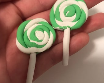 2 pc Green and White Lollipop Charm
