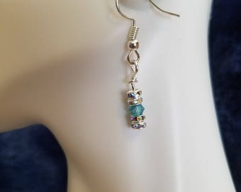 Crystal and light blue dangle earrings