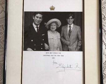 Queen Elizabeth Queen Mother Signed Christmas Card Framed 1975