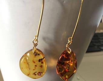 Amber Earrings w/Gold hooks