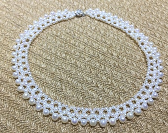 Natural Pearl Necklace/ Bridal white pearl necklace