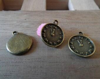 Bronze 16mm♥ X 10 PCs antique clock charm ♥
