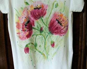 Spring flowers painted tee shirt