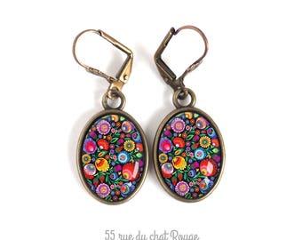Earrings pendant, asymmetrical, Hindu, India, folklore, multicolor