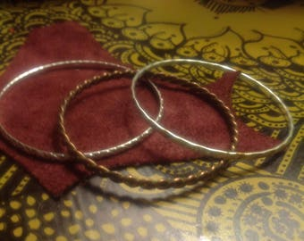 Stack 1:  Set of 3 Mixed Metal Bangle Bracelet