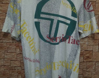 Mega Sale!!!Vintage Rare Sergio Tacchini Over Full Print t Shirt