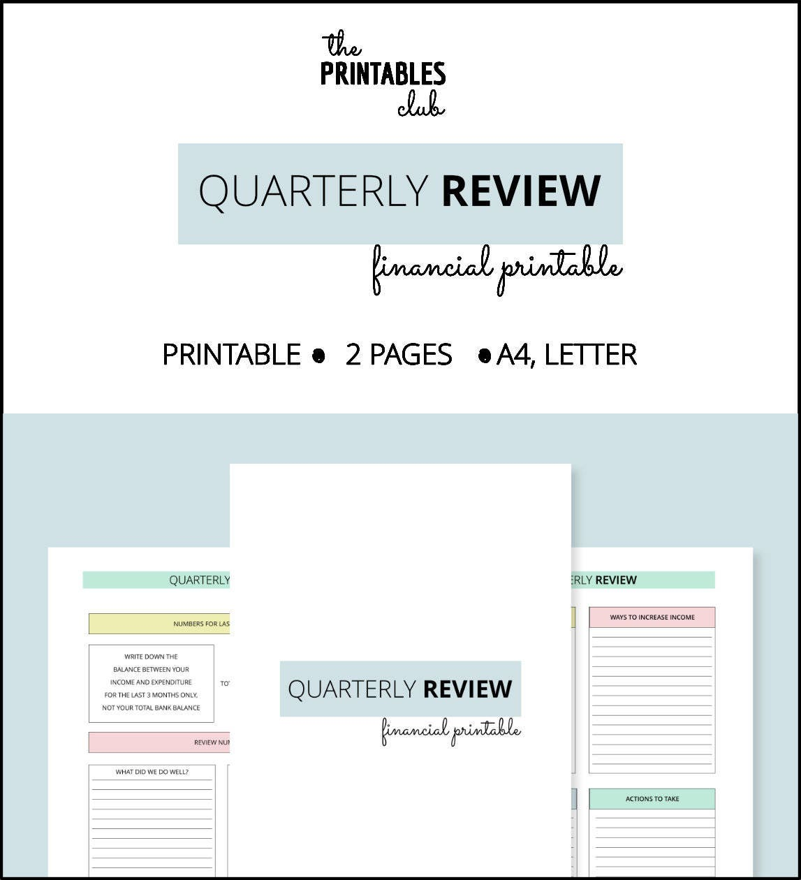 Finance Review: Quarterly Financial Review Printable Finance Planner