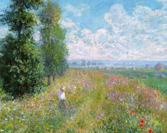 SET of TABLE semi-rigid ORIGINAL AESTHETIC WASHABLE and durable - Claude Monet - an afternoon in a field.