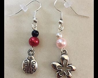 "Mismatched earrings ""Ladybug and flower"""