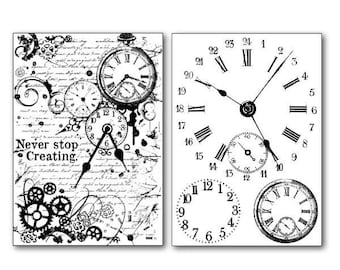 2 sheets of paper clocks DFTR065 transfer