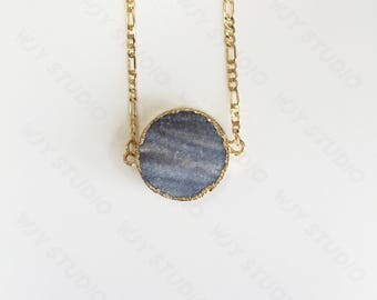 14k-karat gold agate geometrical necklace
