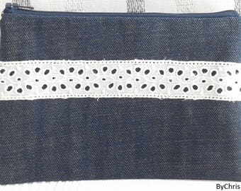 Small pouch, denim, eyelet lace, French toile de Jouy