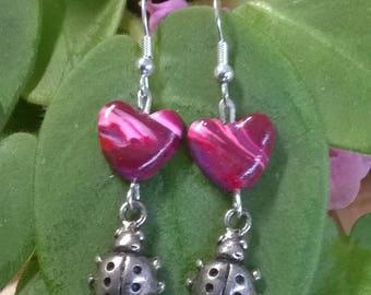 Heart and Ladybug earrings