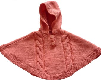 Pink poncho Orange hood and cable pattern 6 months