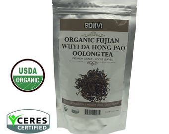 Dodjivi Oolong Tea, Organic Loose Leaf Tea Bulk – Wuyi Mountain Da Hong Pao Chinese Tea – Pemium Full Leaf Tea - 100g per Tea Pack