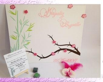 Fingerprint wedding - Zen, flowers of cherry and bamboo tree